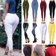 Womens High Waist Stretch Leggings Slim Skinny Pencil Pants Trousers Jeggings