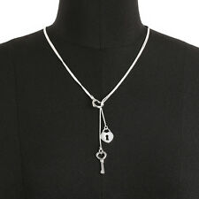 Silver Plated Lock and Key Pendant Necklace Love Heart Women Wedding gift wl