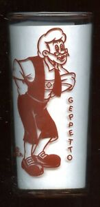 1940 Vintage GEPPETTO from Pinocchio Promo / Premium Glass DISNEY / LIBBEY