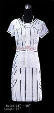 1920's Great Gatsby Nouveau Deco Sequin Bead Cocktail  Party White Dress RR 4026