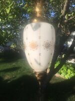 STUNNING Antique Oval Pendant Light- Stencil Design, Vintage Lighting, Brass