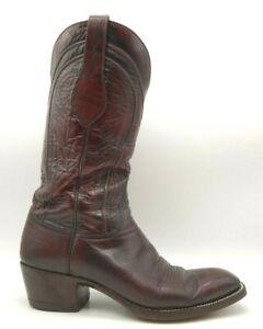 Lucchese San Antonio Burgundy Leather Cowboy Western Boots Men's 8.5 D