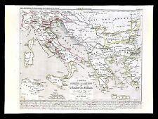 1849 Houze Map Ancient Greece Italy 533-774 Ad Holy Roman Empire & Lombards