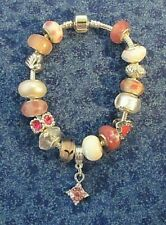 "Crystal 8"" Heart Charm Bracelet (#1436) Nwot Pink & White Murano Glass Bead &"