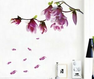 """NEW 68"""" x 52"""" Purple Magnolia Floral Branch Vinyl Wall Mural Decals"""