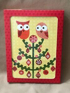 Box 12 Christmas Cards Owls On Tree 'Happy Owlidays' Galison Holiday NOS