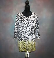 CJ Banks Women's Blouse Plus Size 1X Black White & Yellow Tie Front 3/4 Sleeve
