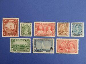 #210-216, 237 MH (210 MNH) fresh, NB Seal, KG V Silver Jubilee, KG VI Coronation
