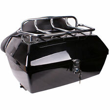 Black Motorcycle Trunk Tail Box Luggage Case top rack For Honda Harley Kawasaki