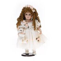 48cm Porzellan Puppe Deko Figur mit Holzständer Künstler Teddybär RF-Collection
