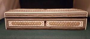Antique Indian wood and bone Vizagapatam box