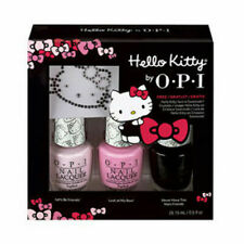 OPI Nail Polish Lacquer - HELLO KITTY Sparkle & Shine 3pcs Set + FREE Crystal