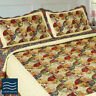 Luxury Mustard Yellow / Navy Floral Quilted Bedspread Sets Double / King Size