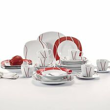FELISA 36PCS Round Porcelain Crockery Ceramic Dinner Service Sets RED Plates