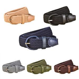 Mens Ladies Elastic Webbing Weave Belts PU Leather Trim Canvas Stretch Braided
