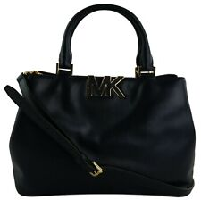 Michael Kors Florence Satchel Bag Navy Dark Blue Smooth Leather Medium Handbag