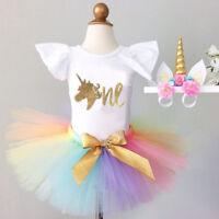 Canis Toddler Baby Girls Birthday Unicorn Romper Rainbow Tutu Skirt Dress Outfit