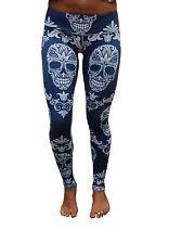 Womens Gym Tights Skull Work out Medium (10-12) Grey Blue Fitness Full Length