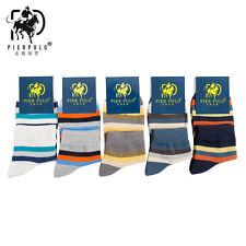 5 Pairs Men's Business Pier Polo Stripe Quarter Combed Cotton Dress Socks Casual