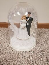 Vintage Wedding Cake Topper 1993 Ceramic Bride Groom with globe top.