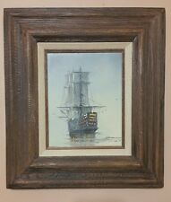 Oil Painting By Garcia Of a Tall Ship Ocean Scape.