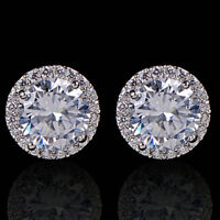 Women Crystal Nice Zircon Inlaid Ear Stud Platinum Plated Earrings jewerly gift