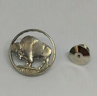 Buffalo Nickel Cut Coin Pin Tie-Tack Western