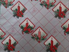 VINTAGE CHRISTMAS CANDLES POINSETTIAS HOLLY SHINY SILVER GIFT WRAPPING PAPER