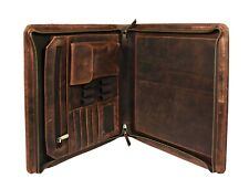 Vintage Leather Portfolio Folder Padfolio A4 Case Executive Organizer Zippered