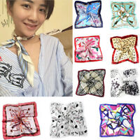 Women Elegant Small Vintage Skinny Business Printing Square Imitate Silk Scarf