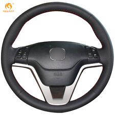 Black Genuine Leather Steering Wheel Cover Wrap for Honda CRV 2007-2011