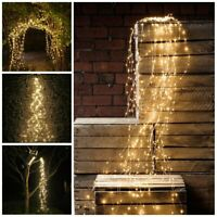 Solar LED Waterfall Lights Copper Wire Fairy String Wedding Dating Decor Outdoor