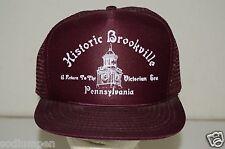 WOW Vintage Historic Brookville Pennsylvania PA Maroon Mesh Trucker Hat Rare