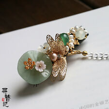 High Quality Chinese Classical Women Hair Clip Jade Lotus Leaf Dragonfly Flower