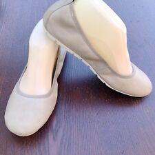 Tan Bone Size 8 BORN Elastic Top Cushy Ballet Flats Slip On Shoes Smooth Leather