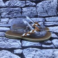 Sperry Tuckerfish Women's Brown Tan White Braided Flip Flop Thong Sandals Sz 10M