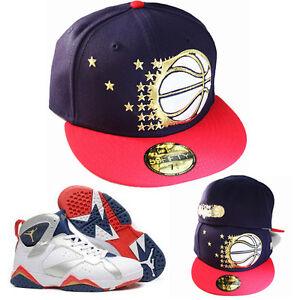 New Era NBA Orlando Magics 5950 Fitted Hat Nike Air Jordan 7 Retro Gold Navy Red