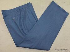 ZANELLA Mens Blue Pant W 33 L 30 Slacks Pants Wool Blend Bennett