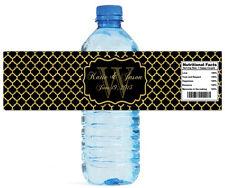100 Gold Pattern Black Background Wedding Anniversary Shower Water bottle Labels