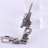 Men's Metal Key Ring Mini Military AWM Sniper Weapon Gun Model Pendant Keychain