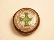 Possible fraternal order metal button with green cross emblem on white field
