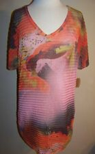 "ONEWORLD BEACH Size S Orange Print ""Tiger Shark"" Swim Cover-up  NWT"