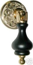 CAST BRASS BASE   BLACK WOOD TEAR DROP PULL BW1290
