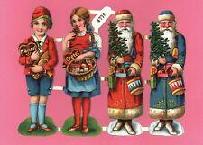 originaler Bogen 4 geprägte Oblaten Hänsel Gretel Santa 12 cm - DIE CUT SCRAPS