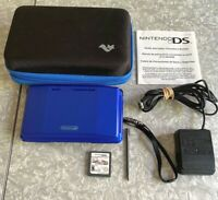 Nintendo DS Blue Launch Handheld Console w/ Mario Kart, Charger & Case TESTED