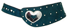 Alannah Hill Teal Coloured Suede Diamante Studded Womens Waist Belt Size 84-94cm