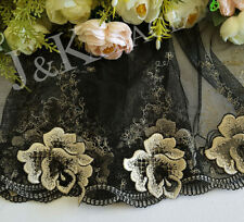 25 cm width Exquisite Black/Pale Yellow/Gold Embroidery mesh Lace Trim