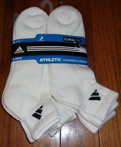 ADIDAS Athletic CUSHIONED Quarter Men's Socks WHITE (5 Pair Pkg.) Size 6-12