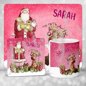 Personalised Santa And Reindeer Christmas Eve Gift Set Mug Coaster Placemat Gift