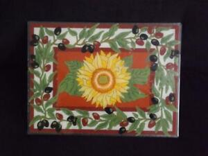 "Peggy Karr Glass Platter Sunflower & Grapes Serving Tray 12""x16"" Mint Condition"